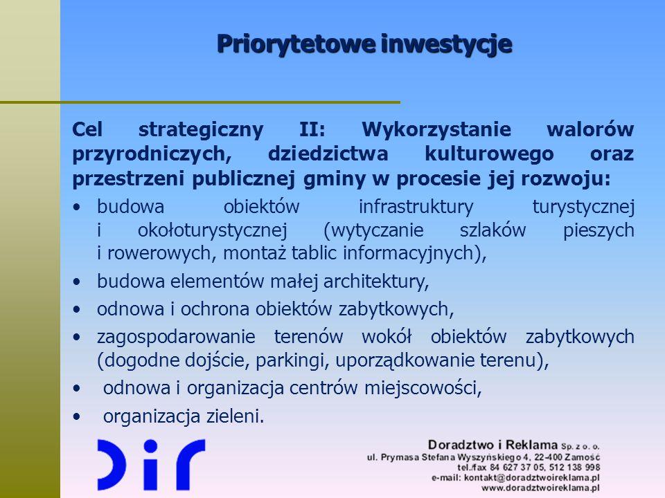 Priorytetowe inwestycje Cel strategiczny II: Wykorzystanie walorów przyrodniczych, dziedzictwa kulturowego oraz przestrzeni publicznej gminy w procesi