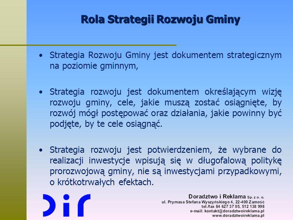 Rola Strategii Rozwoju Gminy Strategia Rozwoju Gminy jest dokumentem strategicznym na poziomie gminnym, Strategia rozwoju jest dokumentem określającym
