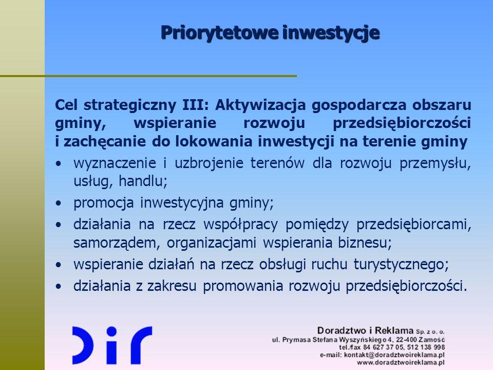 Priorytetowe inwestycje Cel strategiczny III: Aktywizacja gospodarcza obszaru gminy, wspieranie rozwoju przedsiębiorczości i zachęcanie do lokowania i
