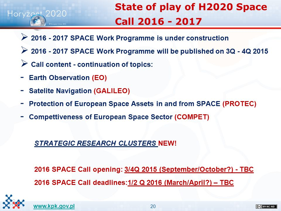 20 www.kpk.gov.pl  2016 - 2017 SPACE Work Programme is under construction  2016 - 2017 SPACE Work Programme will be published on 3Q - 4Q 2015  Call
