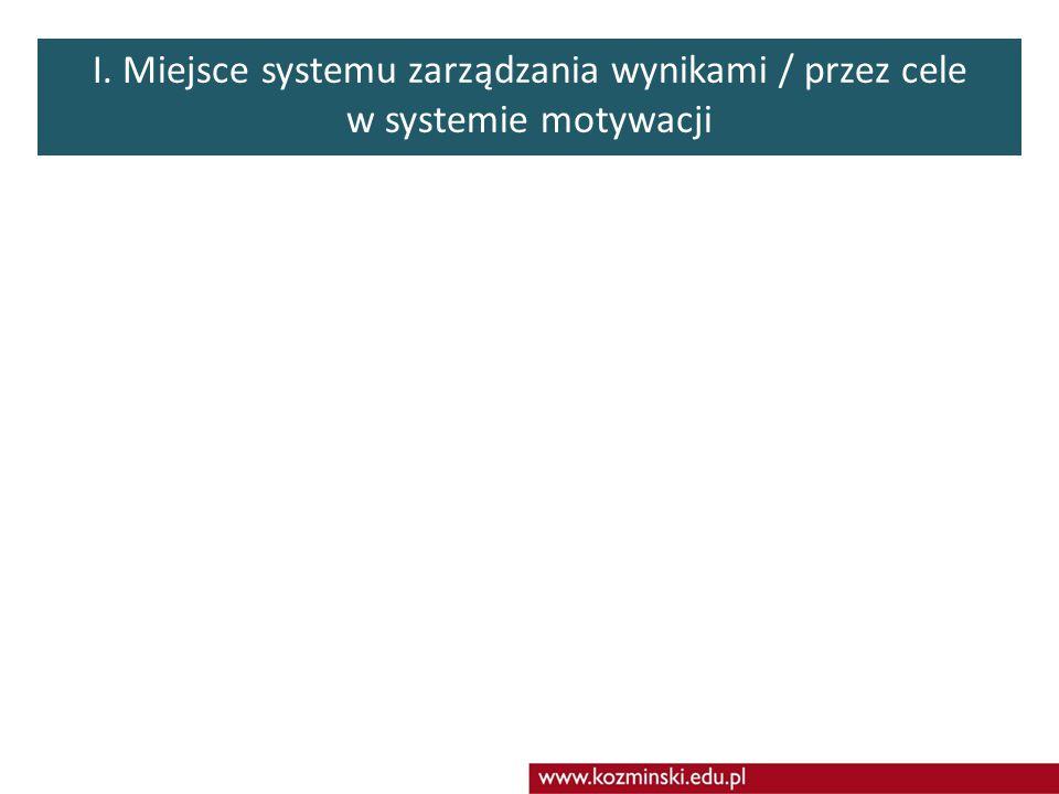 Agenda zajęć Miejsce systemu zarządzania wynikami / przez cele w systemie motywacjiStrategia Organizacji podstawą zarządzania wynikami / przez celeIde