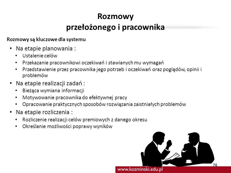 VIII. Kompetencje menedżerów i rozmowy z pracownikami jako baza systemu