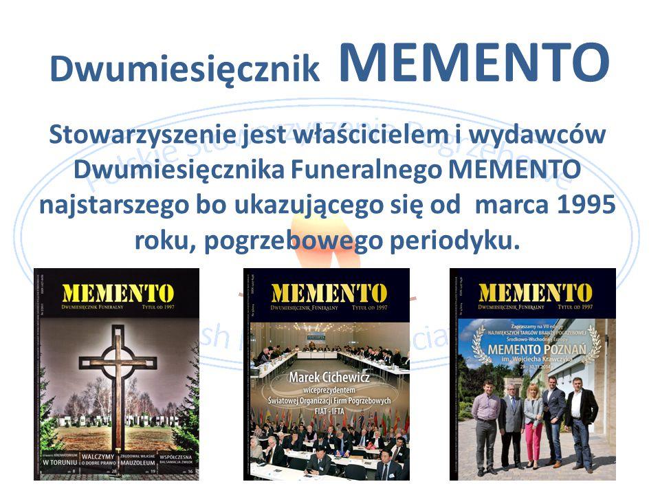 Dwumiesięcznik MEMENTO Stowarzyszenie jest właścicielem i wydawców Dwumiesięcznika Funeralnego MEMENTO najstarszego bo ukazującego się od marca 1995 r