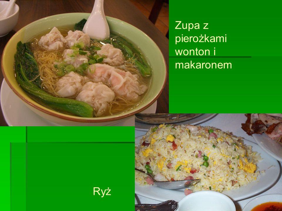 Zupa z pierożkami wonton i makaronem Ryż