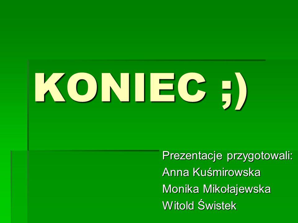 KONIEC ;) Prezentacje przygotowali: Anna Kuśmirowska Monika Mikołajewska Witold Świstek