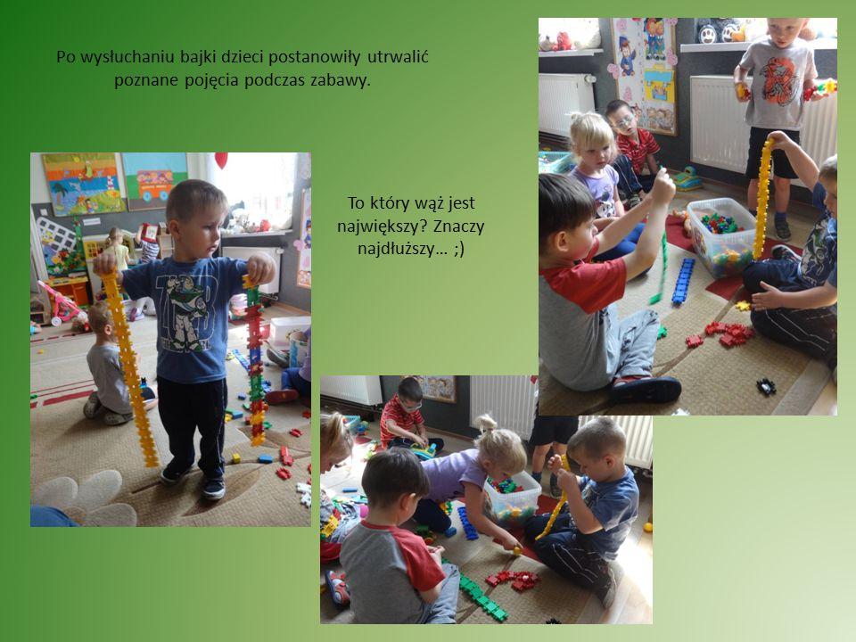 Po wysłuchaniu bajki dzieci postanowiły utrwalić poznane pojęcia podczas zabawy.