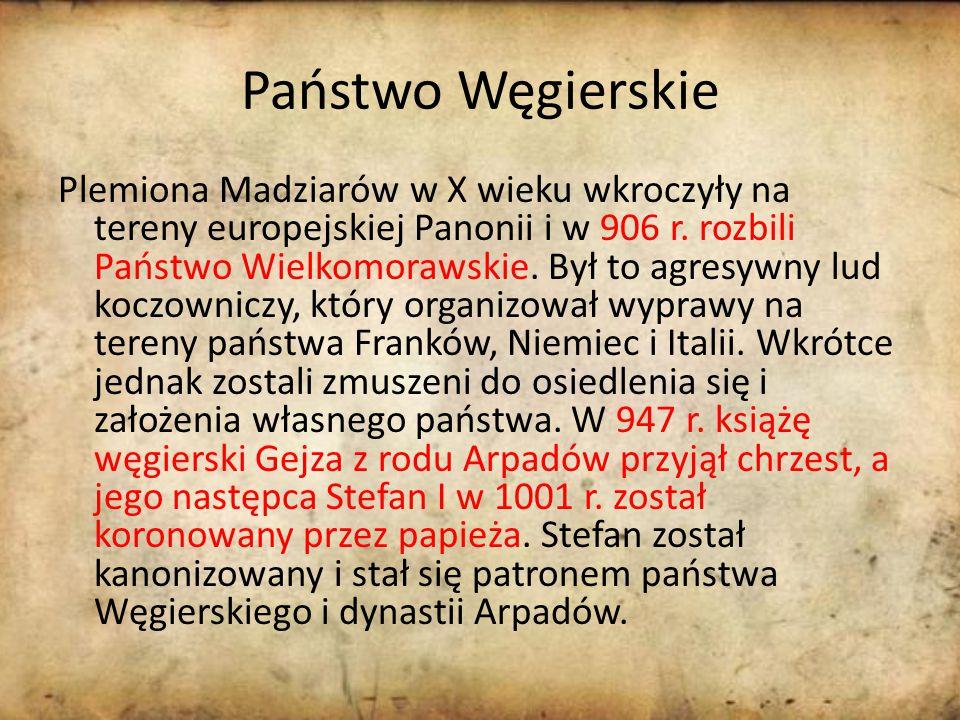 Państwo Węgierskie Plemiona Madziarów w X wieku wkroczyły na tereny europejskiej Panonii i w 906 r.