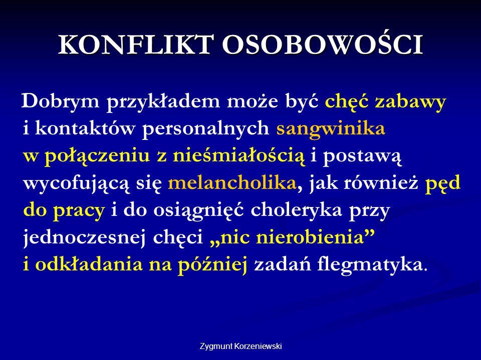 Zygmunt Korzeniewski KONFLIKT OSOBOWOŚCI Dobrym przykładem może być chęć zabawy i kontaktów personalnych sangwinika w połączeniu z nieśmiałością i pos