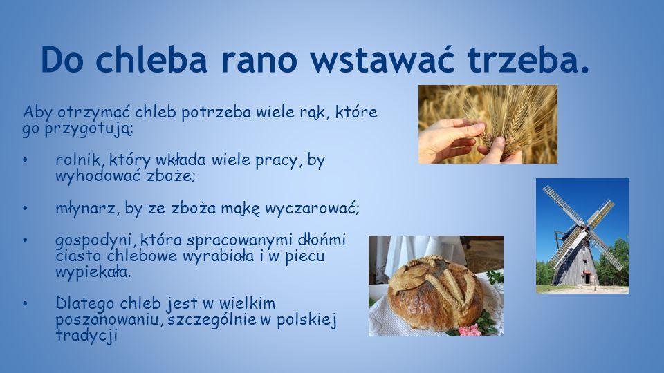 Do chleba rano wstawać trzeba. Aby otrzymać chleb potrzeba wiele rąk, które go przygotują: rolnik, który wkłada wiele pracy, by wyhodować zboże; młyna