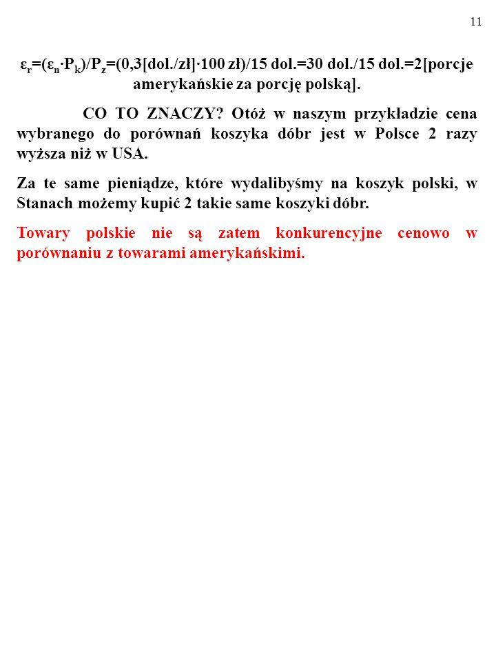 10 ε r =(ε n ∙P k )/P z =(0,3[dol./zł]∙100 zł)/15 dol.=30 dol./15 dol.=2[porcje amerykańskie za porcję polską].
