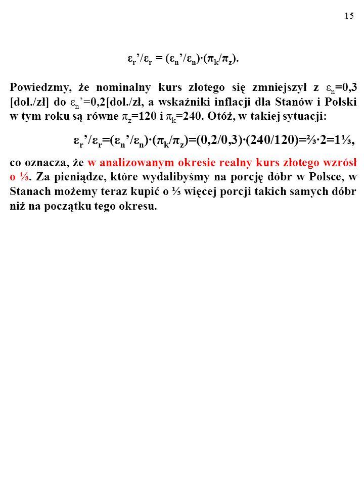 14 ε r '/ε r = (ε n '/ε n )∙(π k /π z ), Jak się okazuje, znając zmianę kursu nominalnego i indeksy cen, możemy ustalić zmianę kursu realnego w pewnym okresie.
