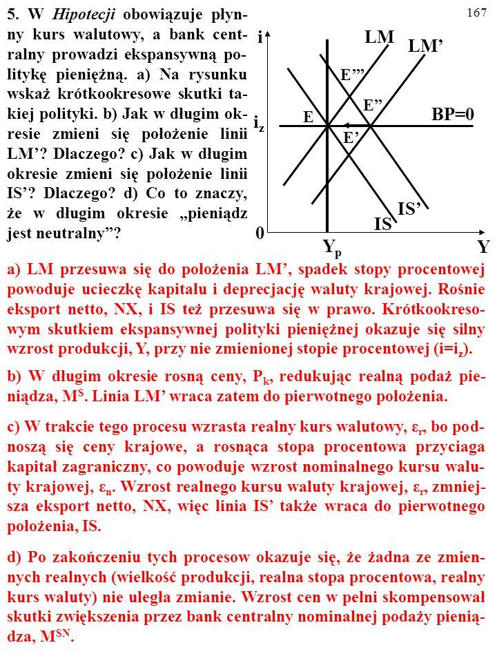 """166 4. Czy to prawda, że skuteczność dewaluacji wzmacniają: a) """"Efekt krzywej J""""? b) Efekt histerezy? c) Sterylizacja? Za każdym razem uzasadnij swoją"""