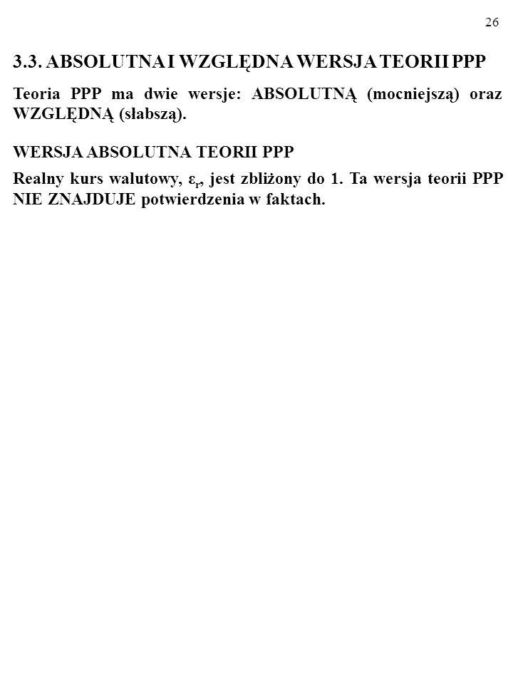 """25 Kolumna 5 tabeli pokazuje odchylenia oficjalnego kursu walut krajowych do dolara od """"bigmacowego"""" kursu PPP. Dla Polski chodzi o –35,4%. [Oficjalny"""
