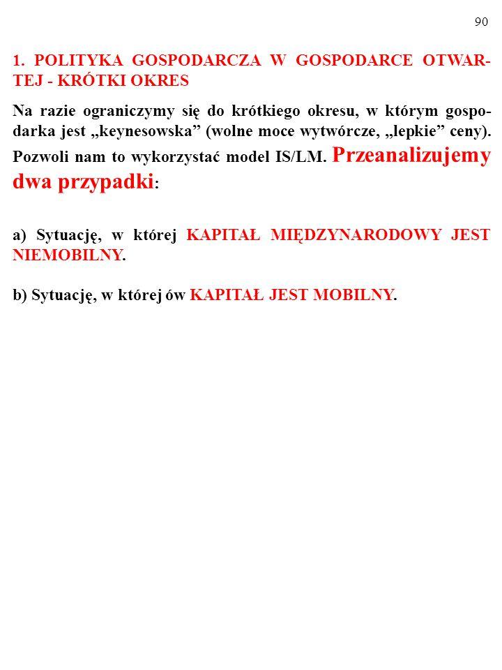 89 Badając skutki polityki gospodarczej w gospodarce otwartej, roz- różnimy KRÓTKI i DŁUGI OKRES.