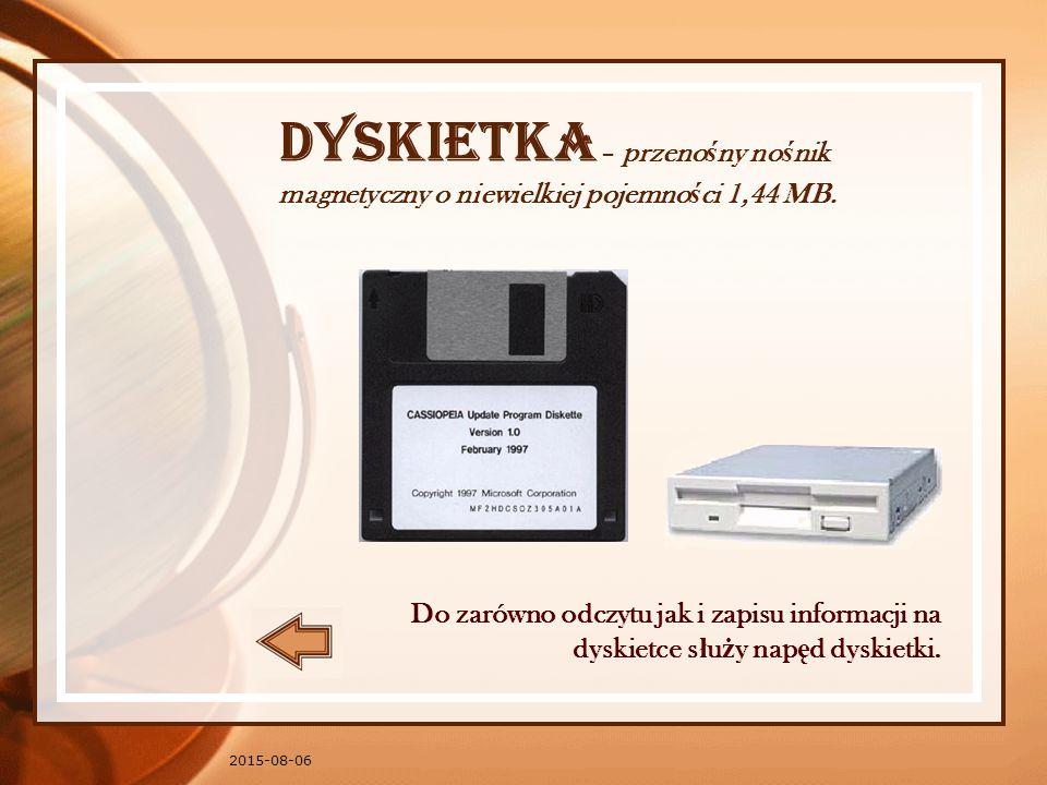 2015-08-06 Dyskietka – przeno ś ny no ś nik magnetyczny o niewielkiej pojemno ś ci 1,44 MB.