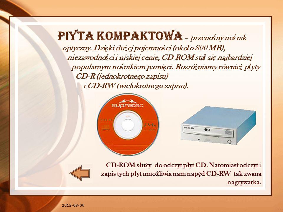 P ł yta kompaktowa – przeno ś ny no ś nik optyczny.