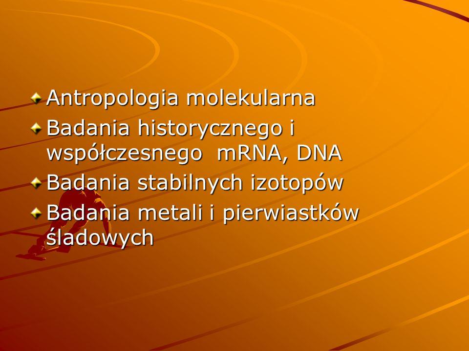 Antropologia molekularna Badania historycznego i współczesnego mRNA, DNA Badania stabilnych izotopów Badania metali i pierwiastków śladowych
