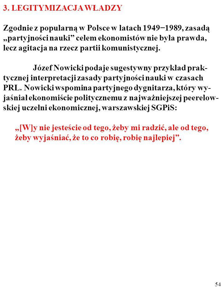 """53 Podobnie, dla wielu kolegów ekonomistów z IKKN opinie aspiranta IKKN Józefa Kielskiego, wyznaczonego przez partię na następcę represjonowanego profesora Wincentego Stysia we Wrocławiu, że: """"Gospodarkę elektryczną Polski burżuazyjno-obszarni- czej cechowała głęboka tendencja do zastoju i gnicia ."""