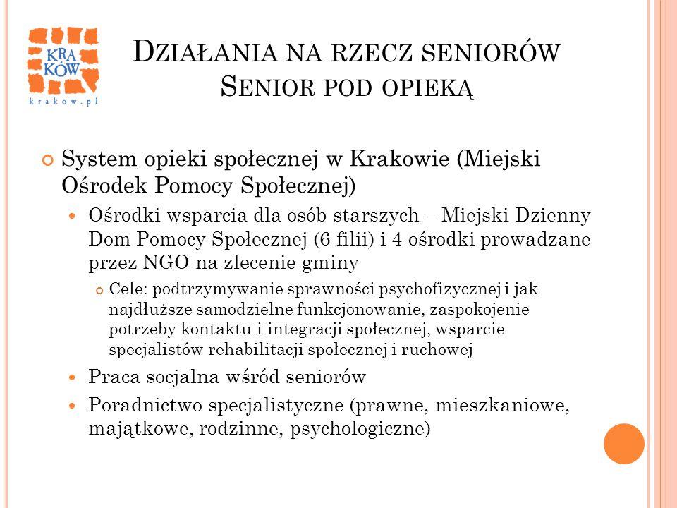 D ZIAŁANIA NA RZECZ SENIORÓW S ENIOR POD OPIEKĄ System opieki społecznej w Krakowie (Miejski Ośrodek Pomocy Społecznej) Ośrodki wsparcia dla osób star