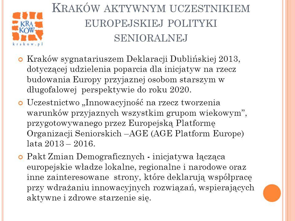 K RAKÓW AKTYWNYM UCZESTNIKIEM EUROPEJSKIEJ POLITYKI SENIORALNEJ Kraków sygnatariuszem Deklaracji Dublińskiej 2013, dotyczącej udzielenia poparcia dla