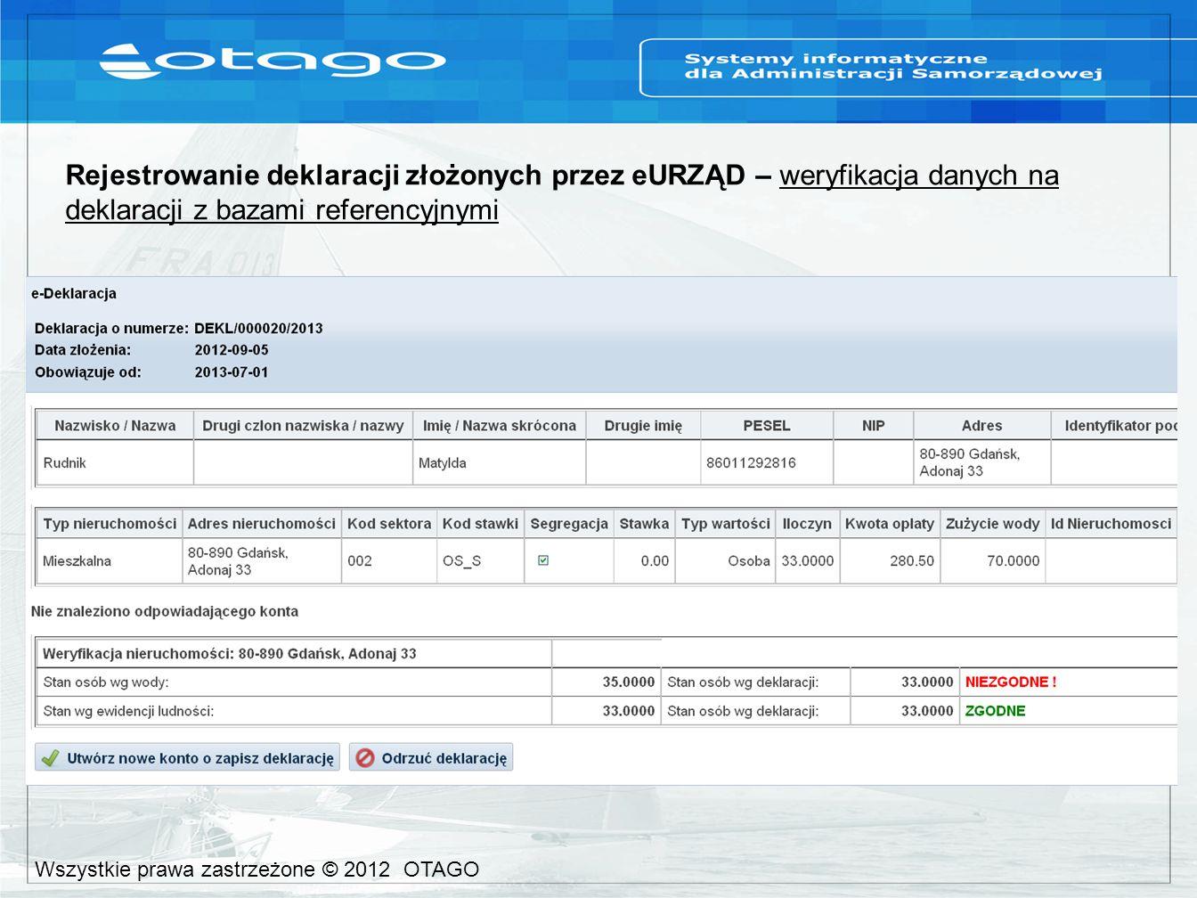 Rejestrowanie deklaracji złożonych przez eURZĄD – weryfikacja danych na deklaracji z bazami referencyjnymi Wszystkie prawa zastrzeżone © 2012 OTAGO