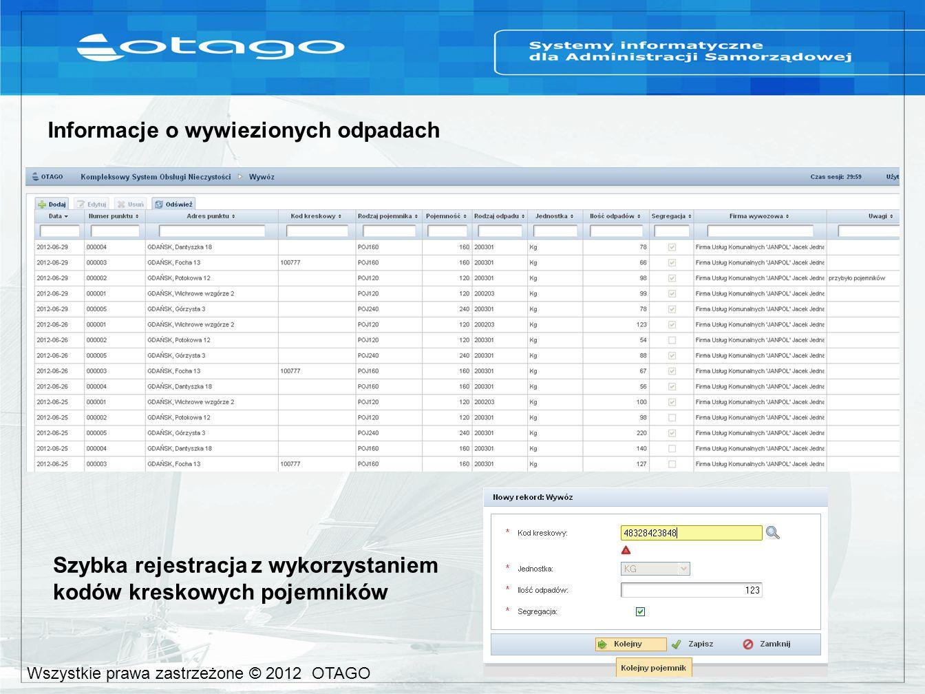 Informacje o wywiezionych odpadach Szybka rejestracja z wykorzystaniem kodów kreskowych pojemników Wszystkie prawa zastrzeżone © 2012 OTAGO