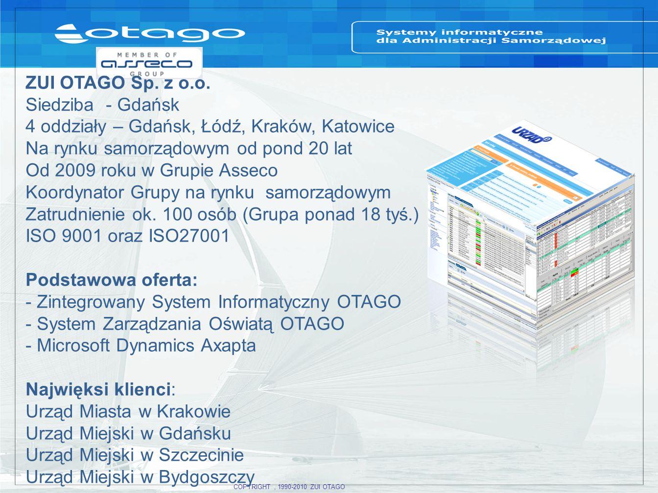 COPYRIGHT, 1990-2010 ZUI OTAGO ZUI OTAGO Sp.z o.o.