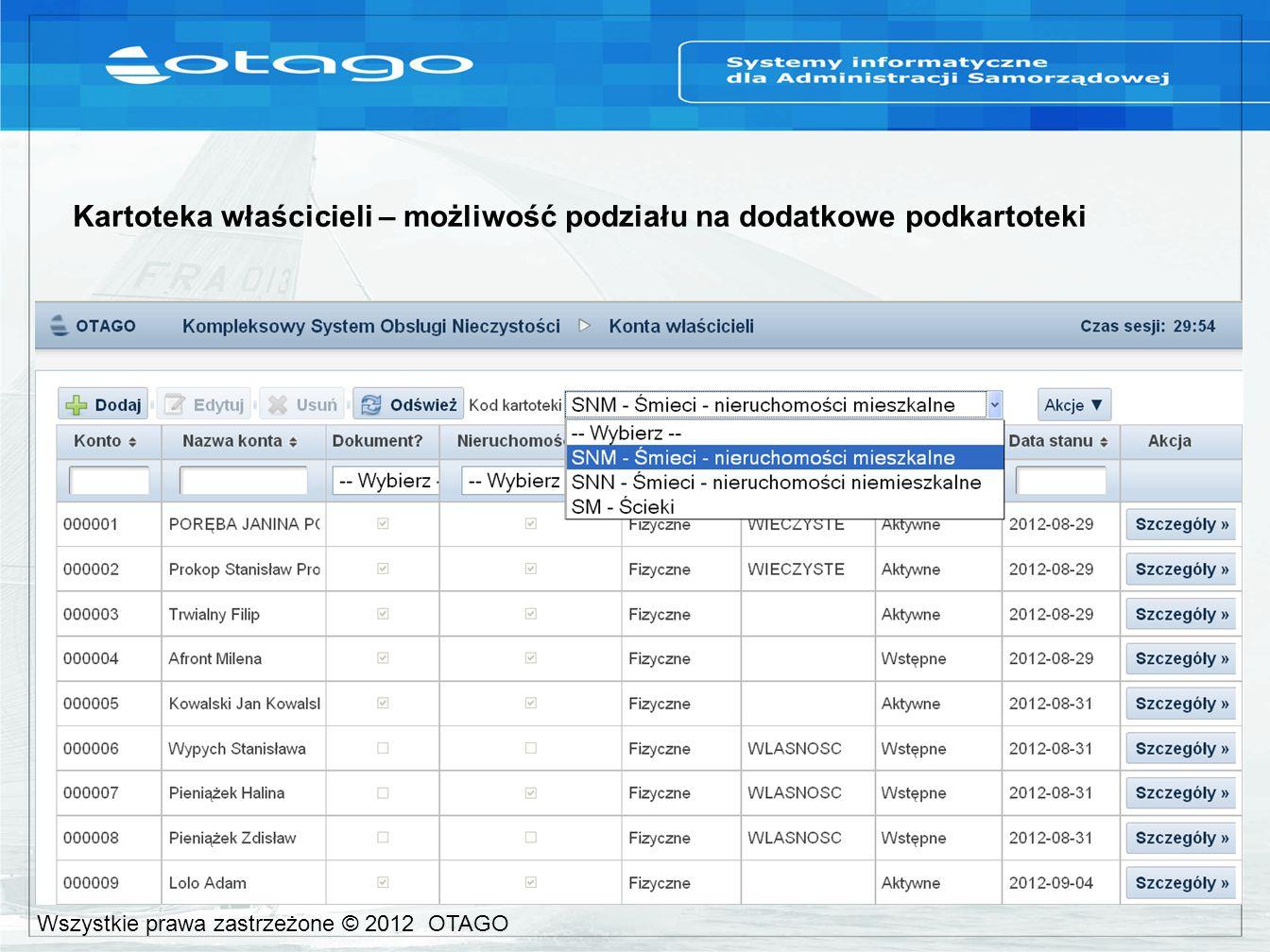 Kartoteka właścicieli – możliwość podziału na dodatkowe podkartoteki Wszystkie prawa zastrzeżone © 2012 OTAGO