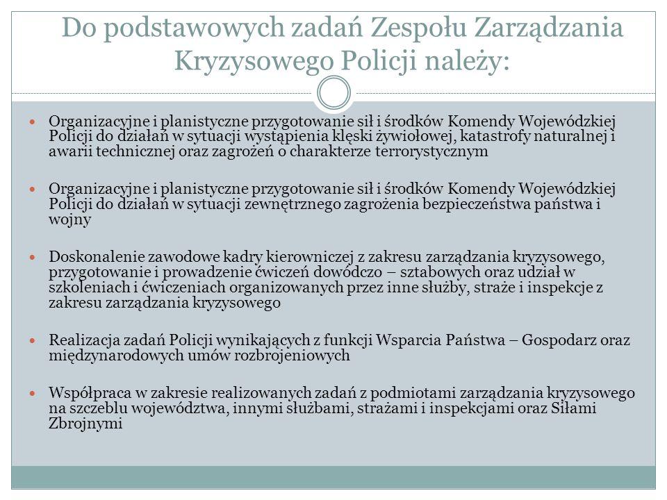 Do podstawowych zadań Zespołu Zarządzania Kryzysowego Policji należy: Organizacyjne i planistyczne przygotowanie sił i środków Komendy Wojewódzkiej Po