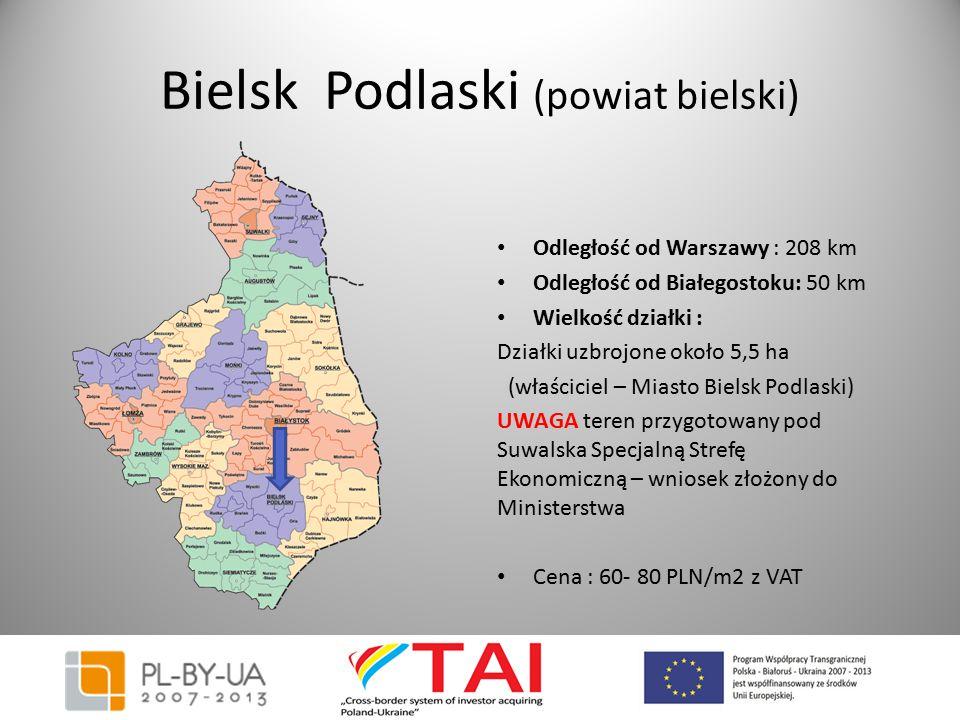 Bielsk Podlaski (powiat bielski) Odległość od Warszawy : 208 km Odległość od Białegostoku: 50 km Wielkość działki : Działki uzbrojone około 5,5 ha (wł