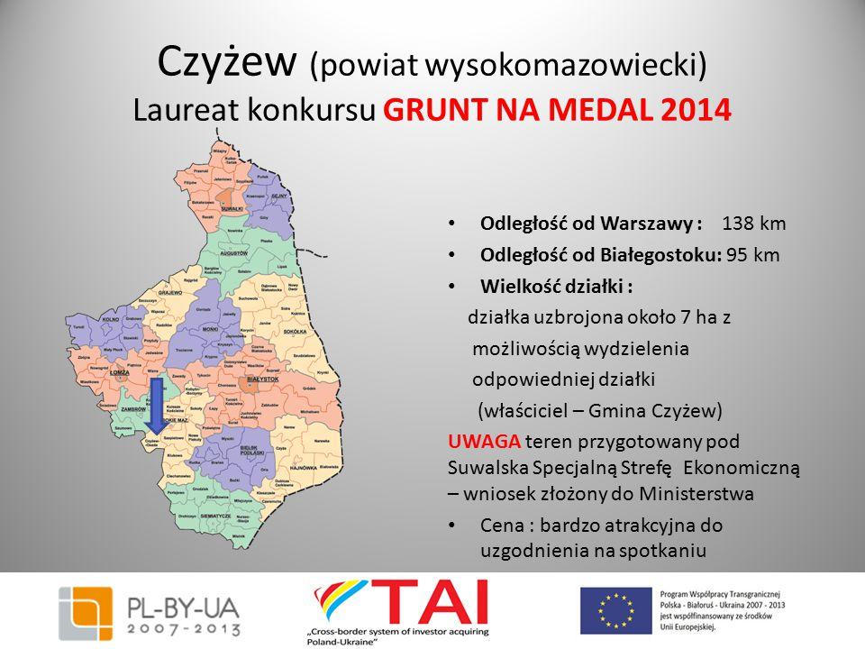 Czyżew (powiat wysokomazowiecki) Laureat konkursu GRUNT NA MEDAL 2014 Odległość od Warszawy : 138 km Odległość od Białegostoku: 95 km Wielkość działki