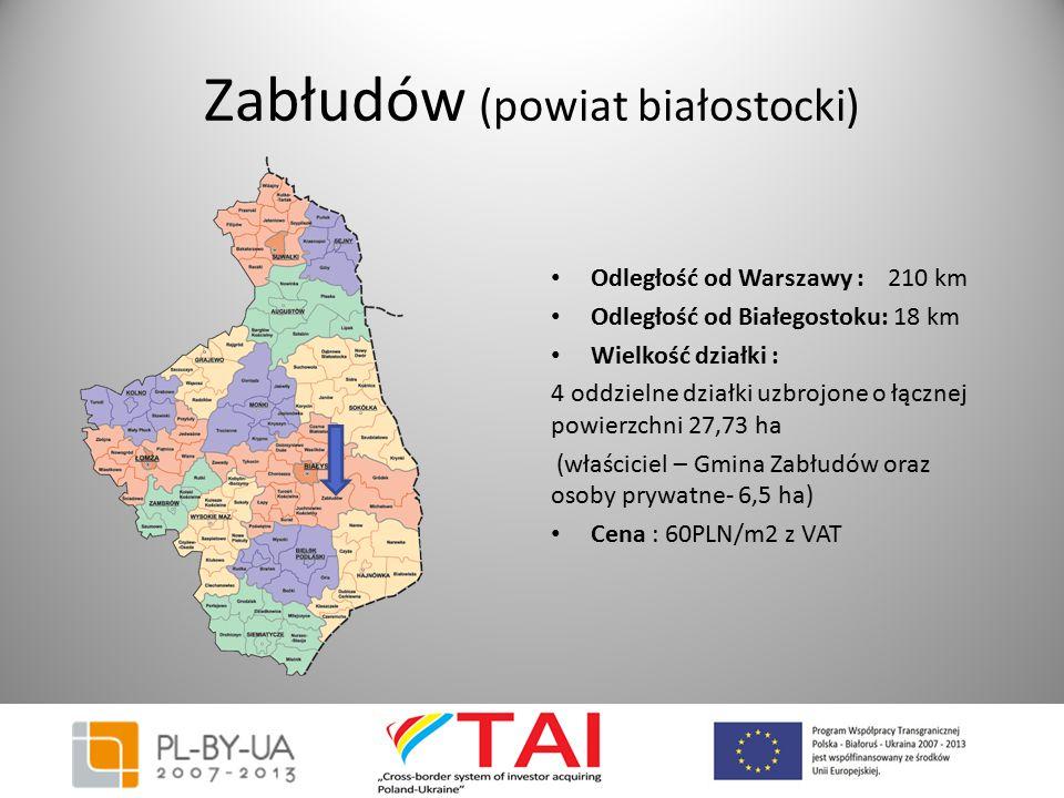 Zabłudów (powiat białostocki) Odległość od Warszawy : 210 km Odległość od Białegostoku: 18 km Wielkość działki : 4 oddzielne działki uzbrojone o łączn