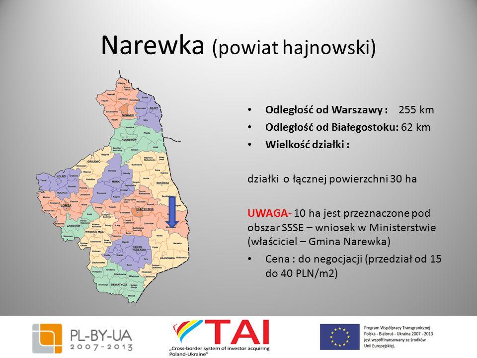 Narewka (powiat hajnowski) Odległość od Warszawy : 255 km Odległość od Białegostoku: 62 km Wielkość działki : działki o łącznej powierzchni 30 ha UWAG