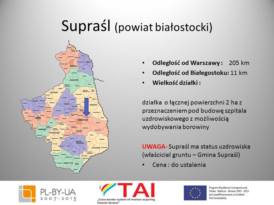 Supraśl (powiat białostocki) Odległość od Warszawy : 205 km Odległość od Białegostoku: 11 km Wielkość działki : działka o łącznej powierzchni 2 ha z p
