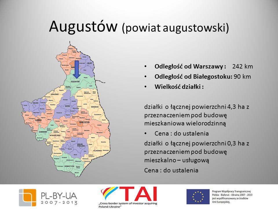 Augustów (powiat augustowski) Odległość od Warszawy : 242 km Odległość od Białegostoku: 90 km Wielkość działki : działki o łącznej powierzchni 4,3 ha