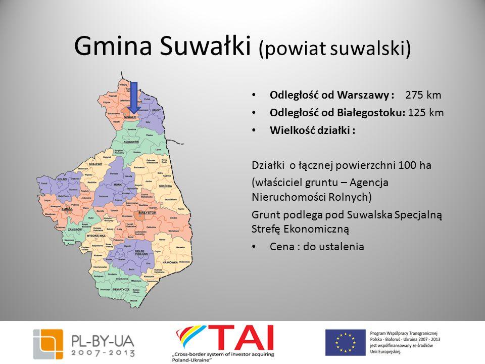 Gmina Suwałki (powiat suwalski) Odległość od Warszawy : 275 km Odległość od Białegostoku: 125 km Wielkość działki : Działki o łącznej powierzchni 100