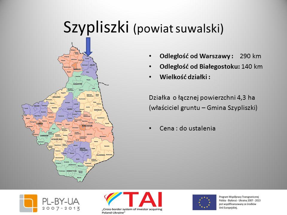 Szypliszki (powiat suwalski) Odległość od Warszawy : 290 km Odległość od Białegostoku: 140 km Wielkość działki : Działka o łącznej powierzchni 4,3 ha