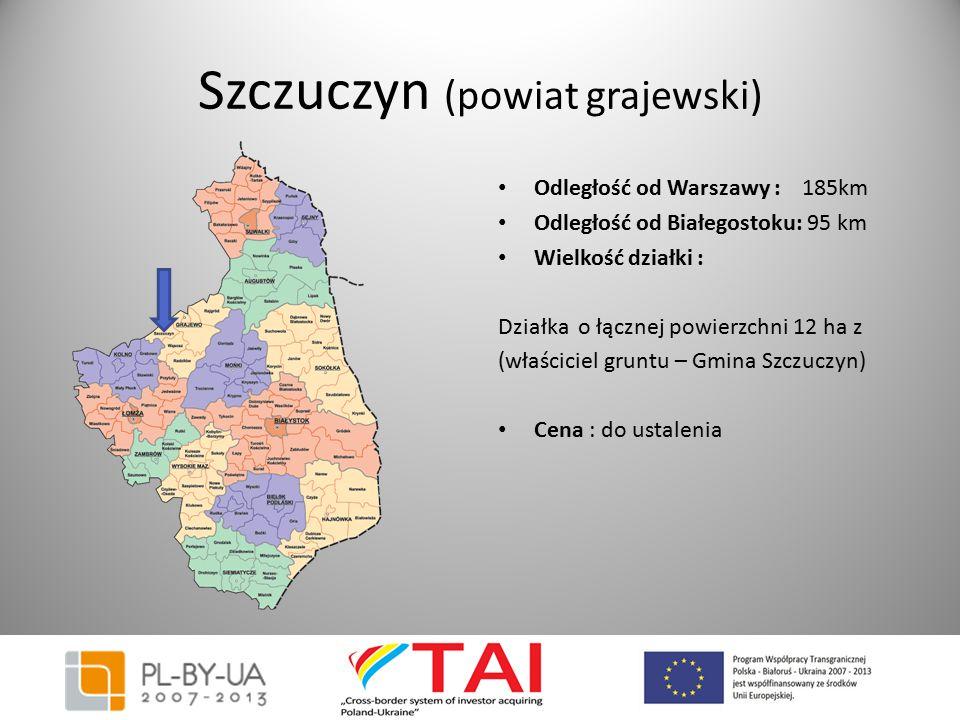 Szczuczyn (powiat grajewski) Odległość od Warszawy : 185km Odległość od Białegostoku: 95 km Wielkość działki : Działka o łącznej powierzchni 12 ha z (