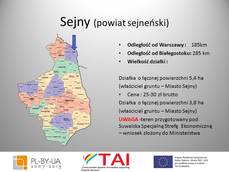 Sejny (powiat sejneński) Odległość od Warszawy : 185km Odległość od Białegostoku: 285 km Wielkość działki : Działka o łącznej powierzchni 5,4 ha (właś