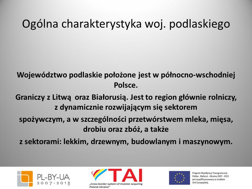 Ogólna charakterystyka woj. podlaskiego Województwo podlaskie położone jest w północno-wschodniej Polsce. Graniczy z Litwą oraz Białorusią. Jest to re