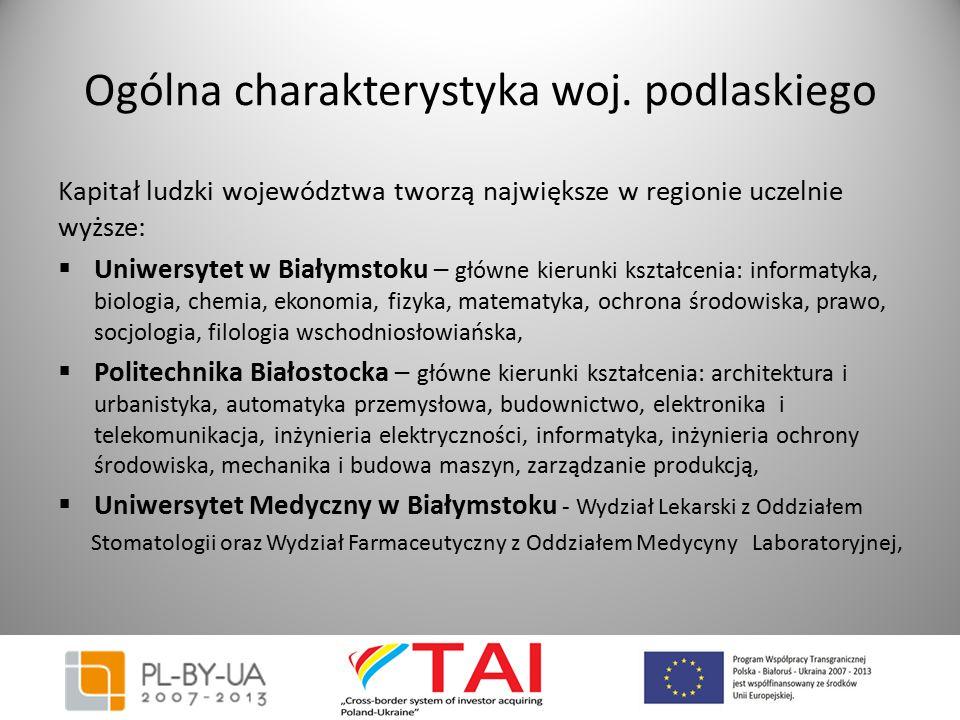 Ogólna charakterystyka woj. podlaskiego Kapitał ludzki województwa tworzą największe w regionie uczelnie wyższe:  Uniwersytet w Białymstoku – główne