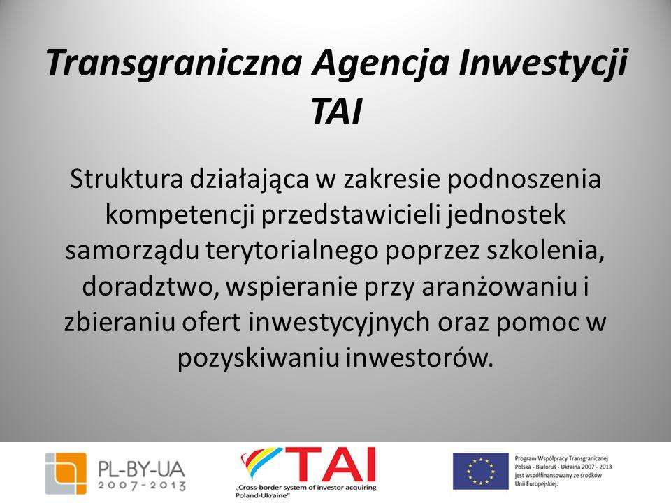 Transgraniczna Agencja Inwestycji TAI Struktura działająca w zakresie podnoszenia kompetencji przedstawicieli jednostek samorządu terytorialnego poprz