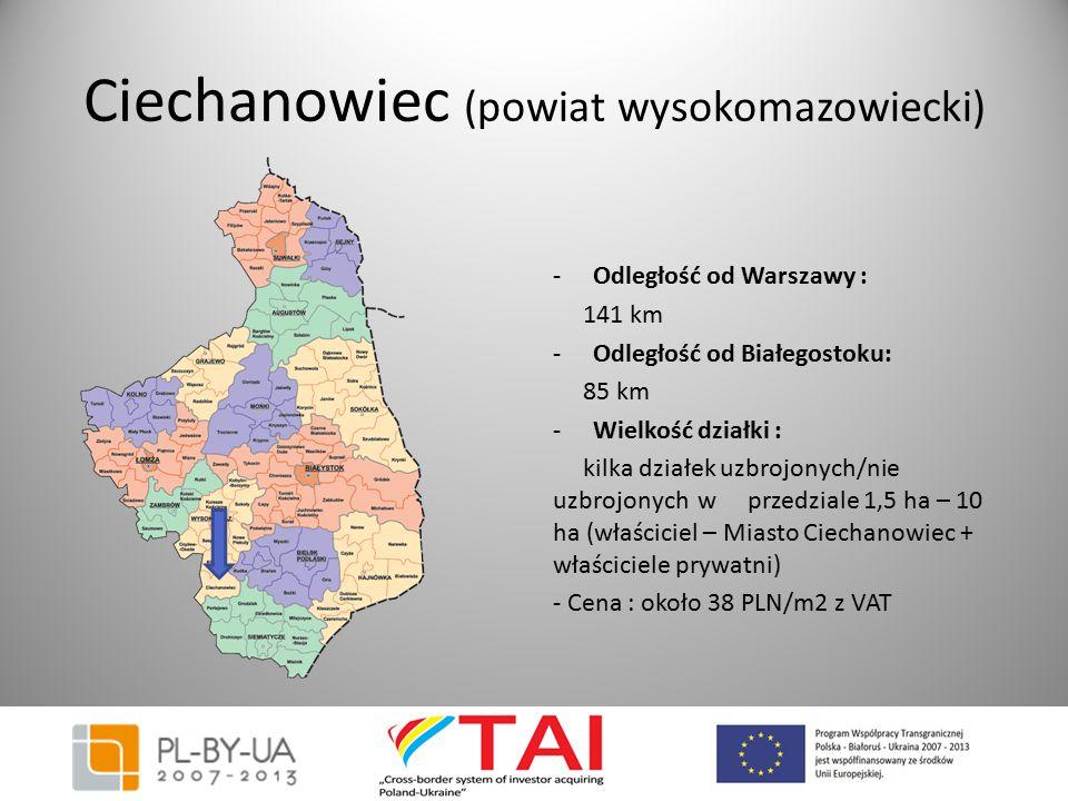 Ciechanowiec (powiat wysokomazowiecki) -Odległość od Warszawy : 141 km -Odległość od Białegostoku: 85 km -Wielkość działki : kilka działek uzbrojonych