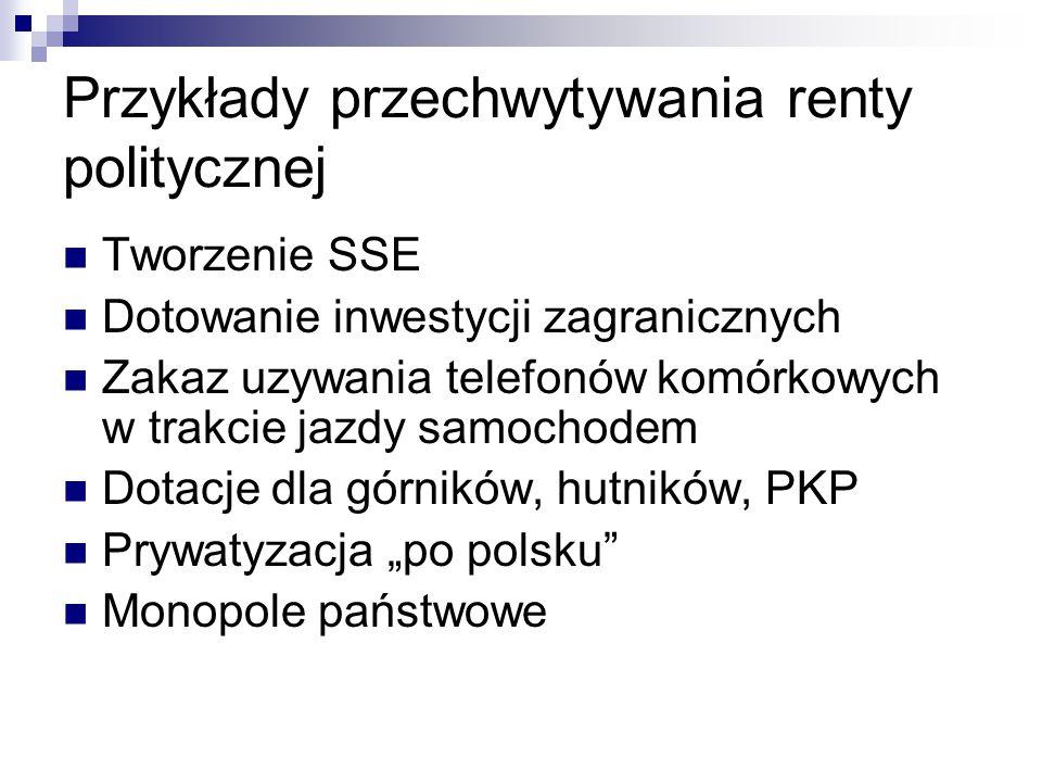 """Przykłady przechwytywania renty politycznej Tworzenie SSE Dotowanie inwestycji zagranicznych Zakaz uzywania telefonów komórkowych w trakcie jazdy samochodem Dotacje dla górników, hutników, PKP Prywatyzacja """"po polsku Monopole państwowe"""