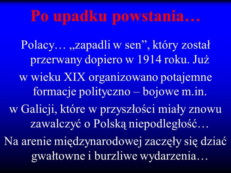 """Po upadku powstania… Polacy… """"zapadli w sen"""", który został przerwany dopiero w 1914 roku. Już w wieku XIX organizowano potajemne formacje polityczno –"""