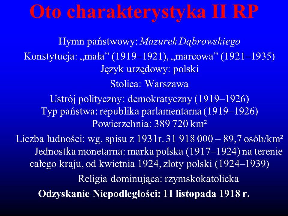 """Oto charakterystyka II RP Hymn państwowy: Mazurek Dąbrowskiego Konstytucja: """"mała"""" (1919–1921), """"marcowa"""" (1921–1935) Język urzędowy: polski Stolica:"""