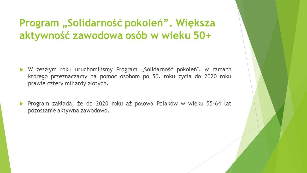 """Program """"Solidarność pokoleń"""". Większa aktywność zawodowa osób w wieku 50+  W zeszłym roku uruchomiliśmy Program """"Solidarność pokoleń"""