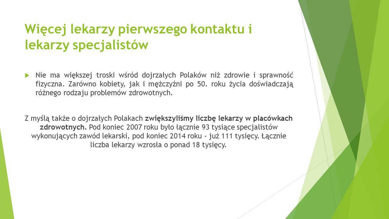 Więcej lekarzy pierwszego kontaktu i lekarzy specjalistów  Nie ma większej troski wśród dojrzałych Polaków niż zdrowie i sprawność fizyczna. Zarówno