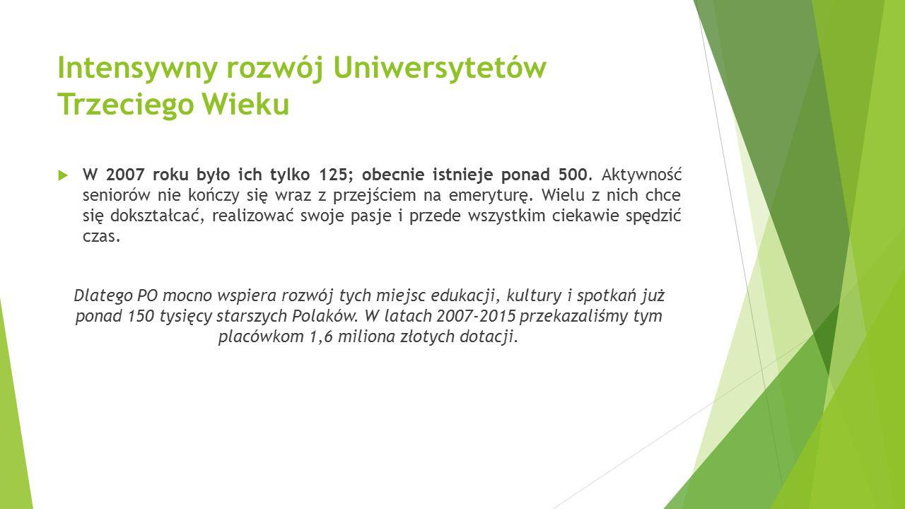 Intensywny rozwój Uniwersytetów Trzeciego Wieku  W 2007 roku było ich tylko 125; obecnie istnieje ponad 500. Aktywność seniorów nie kończy się wraz z