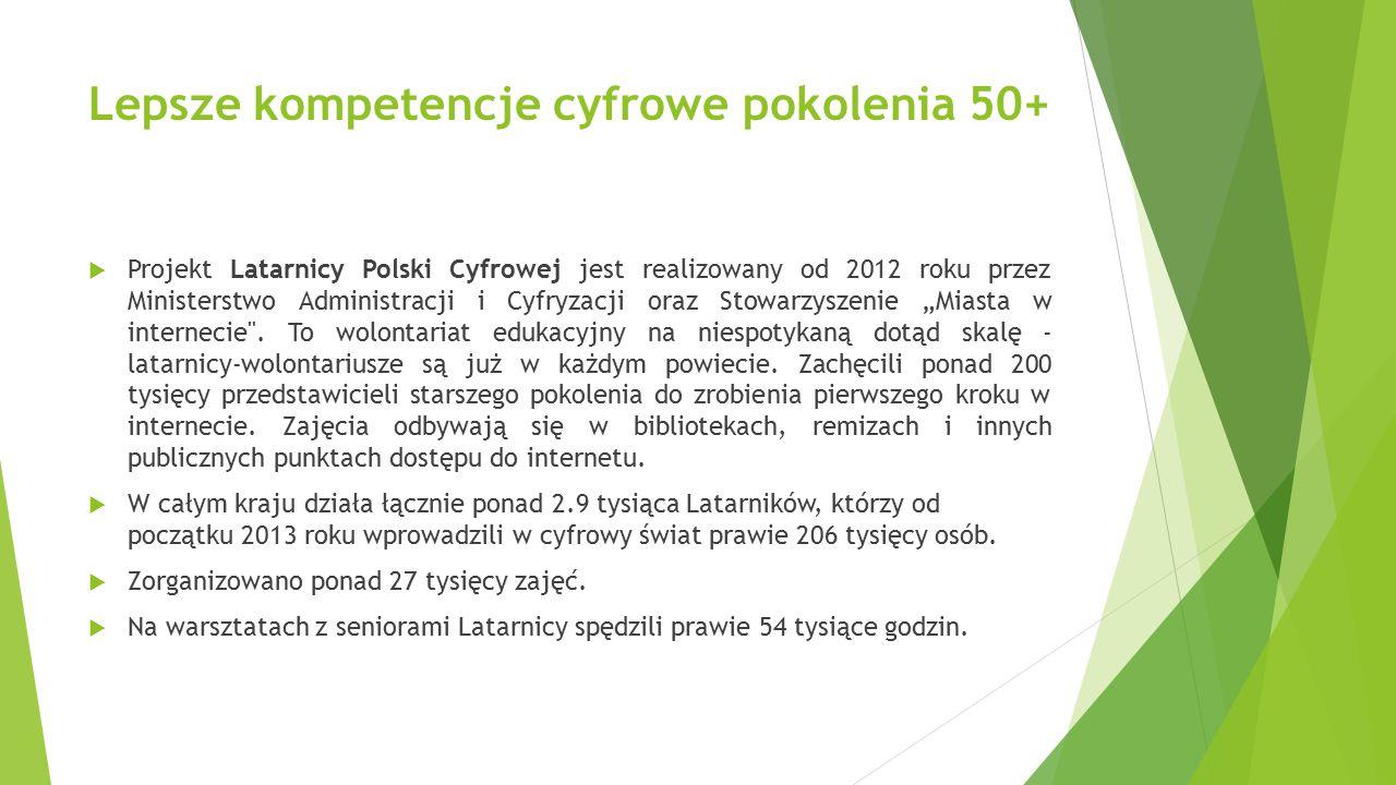 Lepsze kompetencje cyfrowe pokolenia 50+  Projekt Latarnicy Polski Cyfrowej jest realizowany od 2012 roku przez Ministerstwo Administracji i Cyfryzac